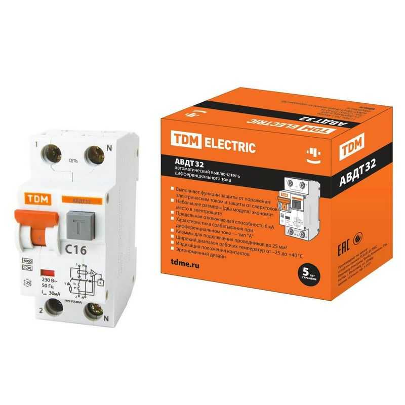 Автоматический Выключатель Дифференциального тока - АВДТ 32 C16 30мА TDM