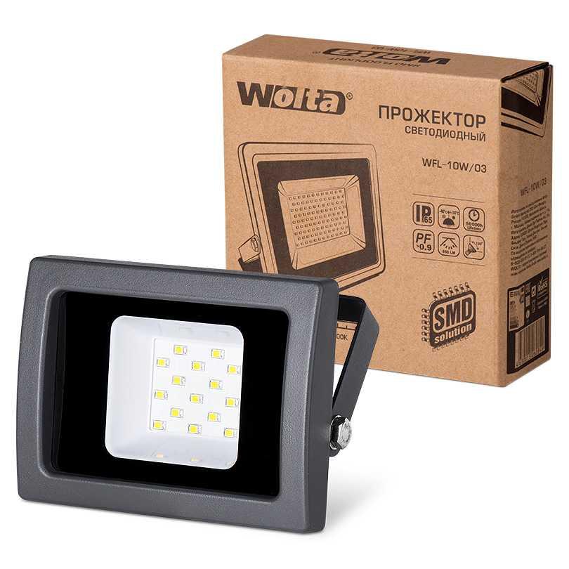Светодиодный прожектор WFL-10W/03, 5500K, 10W SMD, IP65 цвет чёрный, слим WOLTA