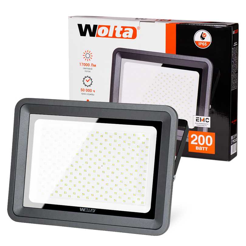 Светодиодный прожектор WFL-200W/06, 5500K, 200 W SMD, IP 65 WOLTA