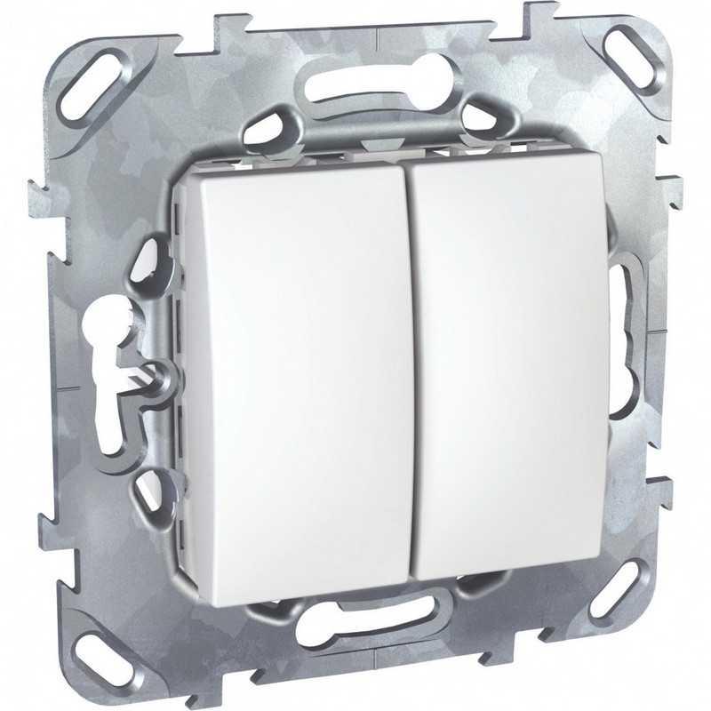 Двухклавишный выключатель (сх 5) белый Unica Schneider Electric