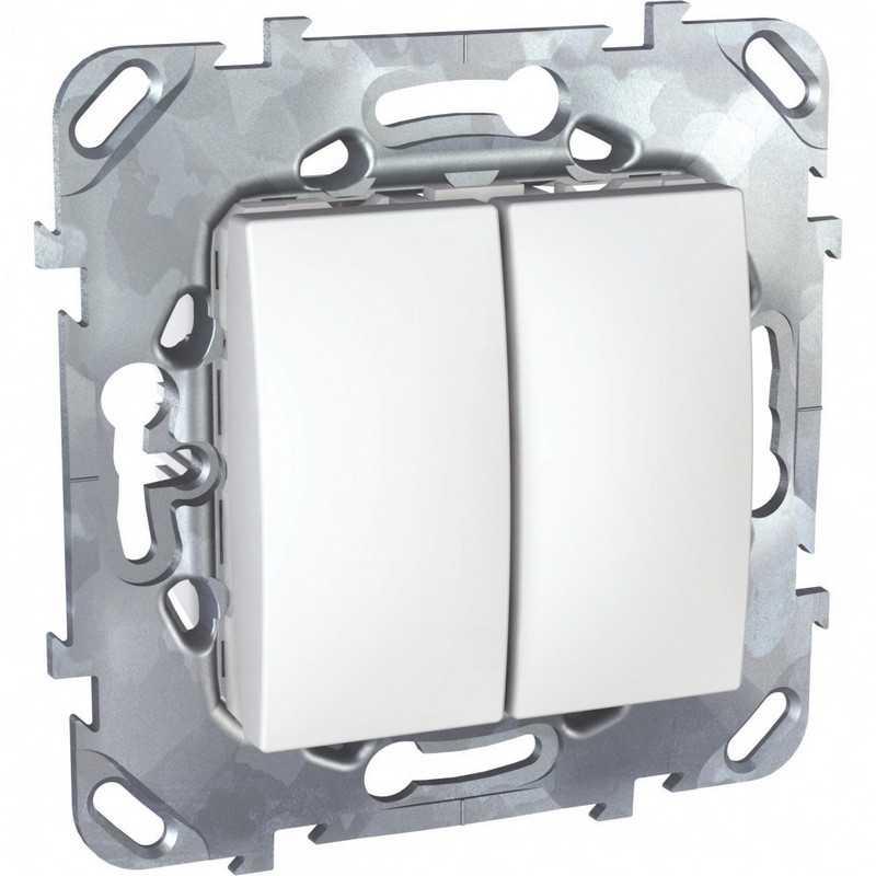 Двухклавишный переключатель (сх.6+6) белый Uniсa Schneider Electric
