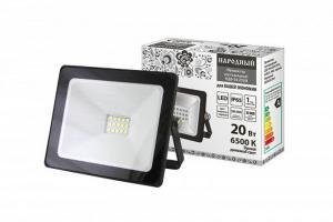 Прожектор светодиодный СДО-04-020Н 20 Вт, 6500 К, IP65, черный, Народный