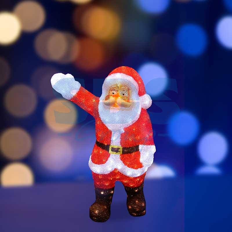 """Акриловая светодиодная фигура Санта Клаус приветствует"""" 60 см, 200 светодиодов, IP44 понижающий трансформатор в комплекте"""""""