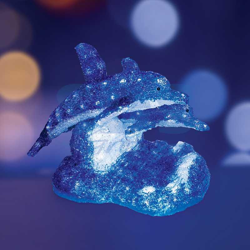 """Акриловая светодиодная фигура Синие дельфины"""" 65х48х48 см, 136 светодиодов, IP44 понижающий трансформатор в комплекте"""""""