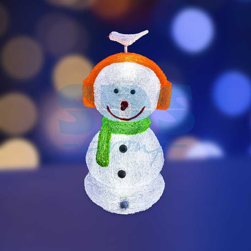"""Акриловая светодиодная фигура Снеговик в наушниках"""" 27х27х60 см, 16 светодиодов, IP 44, понижающий трансформатор в комплекте"""""""