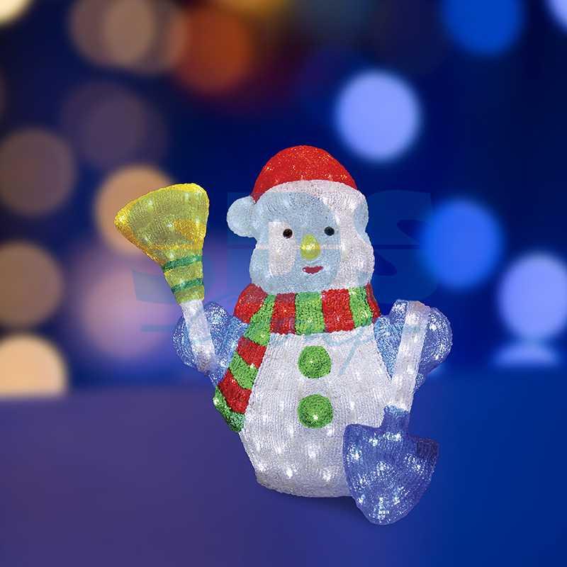 """Акриловая светодиодная фигура Снеговик с метлой и лопатой"""" 60 см, 260 светодиодов, IP 44, понижающий трансформатор в комплекте"""""""