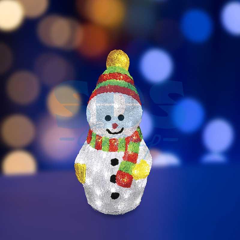 """Акриловая светодиодная фигура Снеговик с шарфом"""" 30 см, 40 светодиодов, IP 44, понижающий трансформатор в комплекте"""""""