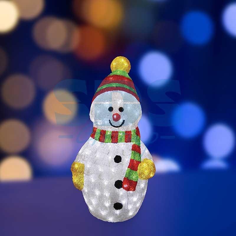 """Акриловая светодиодная фигура Снеговик с шарфом"""" 60 см, 200 светодиодов, IP 44, понижающий трансформатор в комплекте"""""""