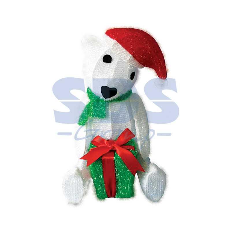 """Синтетическая 3D фигура Медвежонок с подарком """", 51 см,  36 светодиодов"""""""