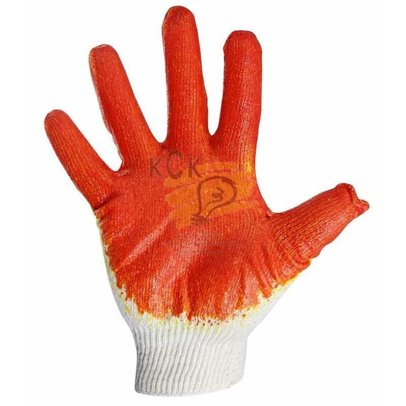 Перчатки ХБ с одинарным латексным покр., 5нитей, 40-42гр., 10 класс вязки, красного цвета