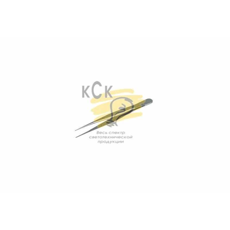 Пинцет прямой, узкий, фиксатор, рифленый 105мм ПРОФИ