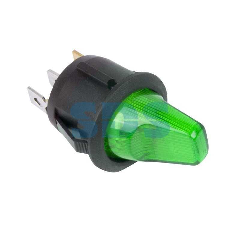 Выключатель клавишный круглый 12V 16А (3с) ON-OFF зеленый  с подсветкой  (RWB-224, SС-214)  REXANT