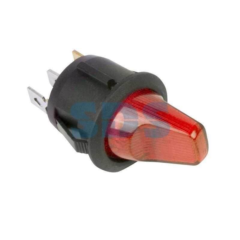 Выключатель клавишный круглый 12V 16А (3с) ON-OFF красный  с подсветкой  (RWB-224, SС-214)  REXANT