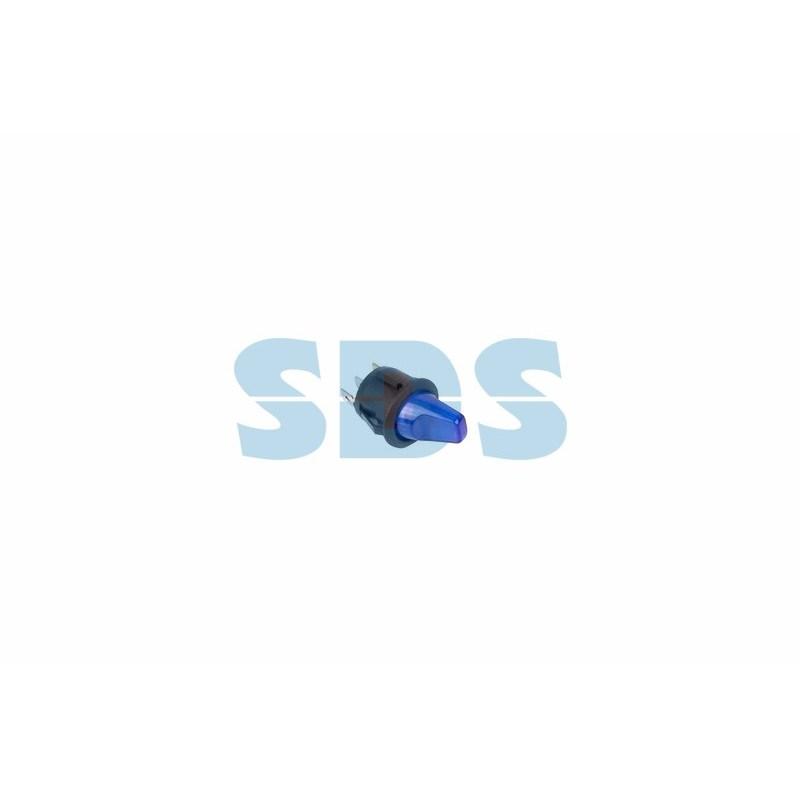 Выключатель клавишный круглый 12V 16А (3с) ON-OFF синий  с подсветкой  (RWB-224, SС-214)  REXANT