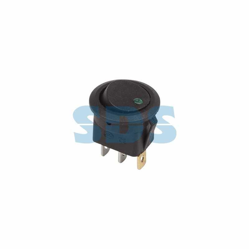 Выключатель клавишный круглый 12V 16А (3с) ON-OFF черный  с зеленой подсветкой  (RWB-215, MIRS-101Е-