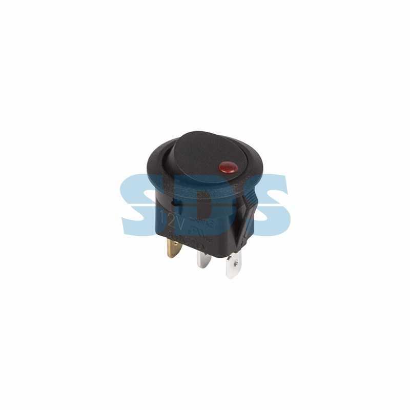 Выключатель клавишный круглый 12V 16А (3с) ON-OFF черный  с красной подсветкой  (RWB-215, MIRS-101Е-