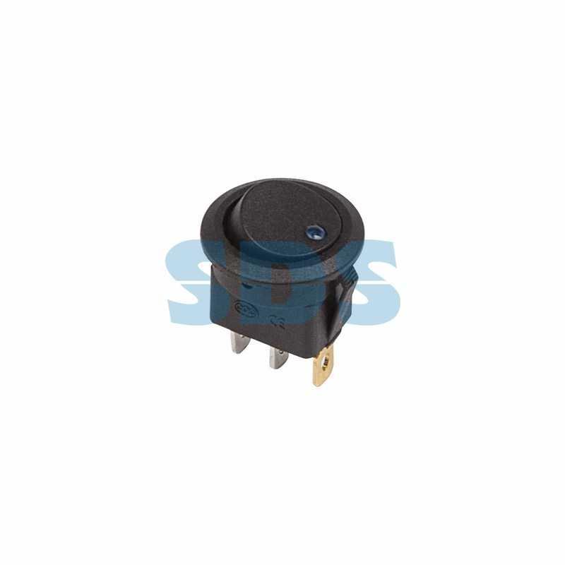 Выключатель клавишный круглый 12V 16А (3с) ON-OFF черный  с синей подсветкой  (RWB-215, MIRS-101Е-8С