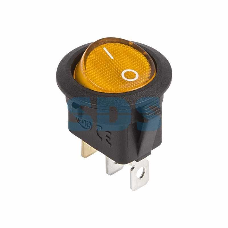 Выключатель клавишный круглый 12V 20А (3с) ON-OFF желтый  с подсветкой  (RWB-214)  REXANT