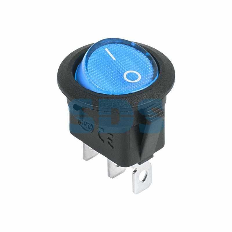 Выключатель клавишный круглый 12V 20А (3с) ON-OFF синий  с подсветкой  (RWB-214)  REXANT
