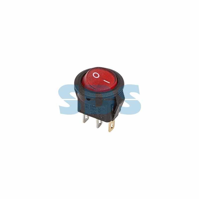 Выключатель клавишный круглый 250V 3А (3с) ON-OFF красный  с подсветкой  Micro  (RWB-106, SC-214)  R