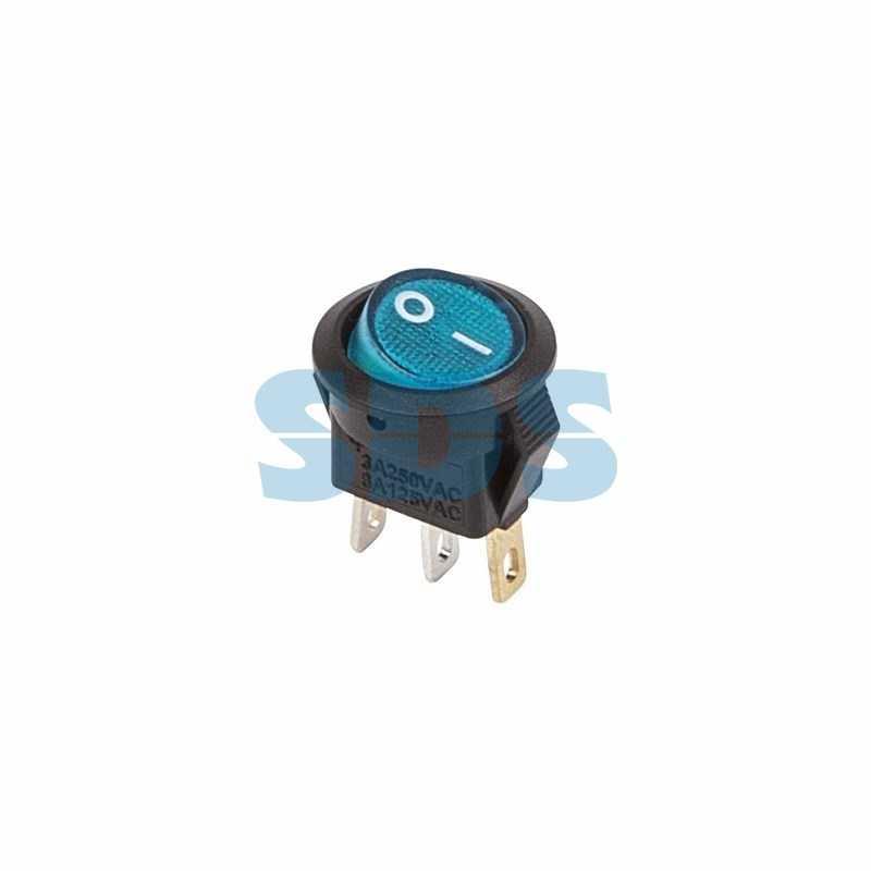 Выключатель клавишный круглый 250V 3А (3с) ON-OFF синий  с подсветкой  Micro  (RWB-106, SC-214)  REX