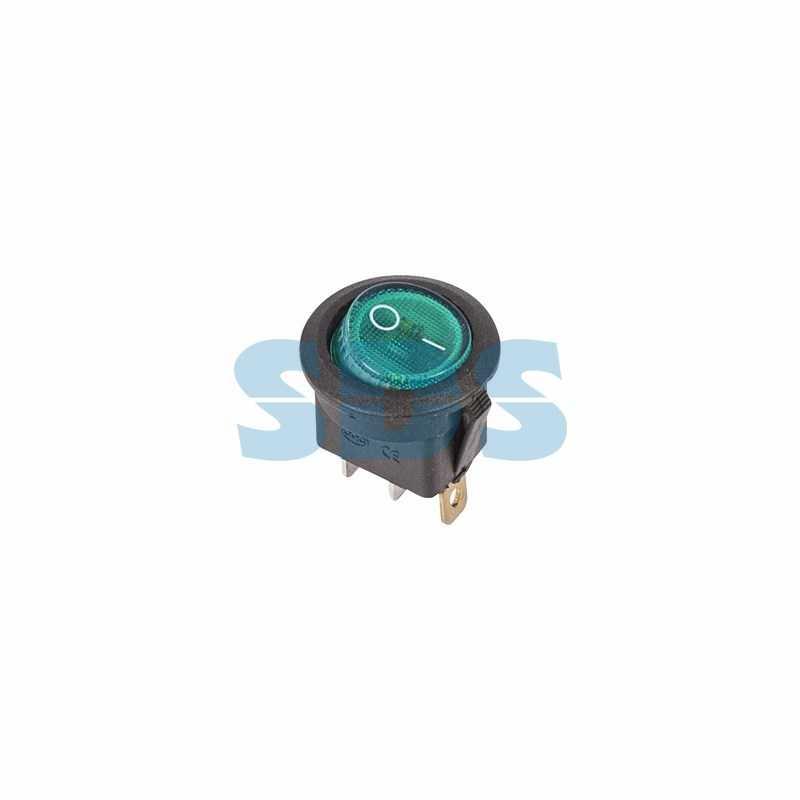 Выключатель клавишный круглый 250V 6А (3с) ON-OFF зеленый  с подсветкой  (RWB-214, SC-214, MIRS-101-