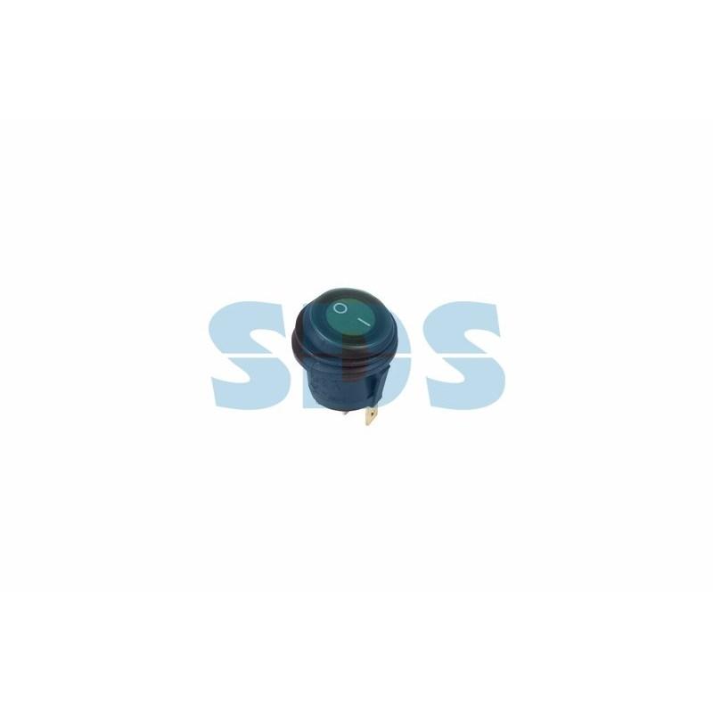 Выключатель клавишный круглый 250V 6А (4с) ON-OFF зеленый  с подсветкой  ВЛАГОЗАЩИТА  REXANT