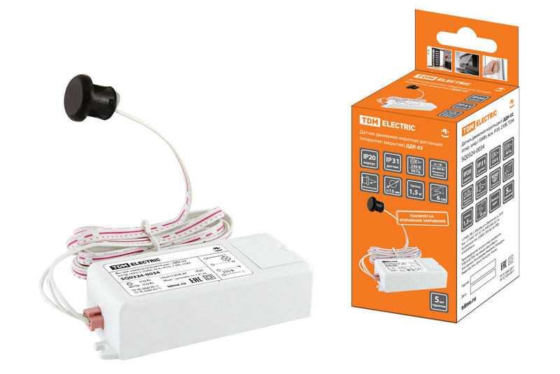 Датчик движения ДДК-02 (Открывание/закрывание) 500Вт, 6см, IP20, 230В, TDM
