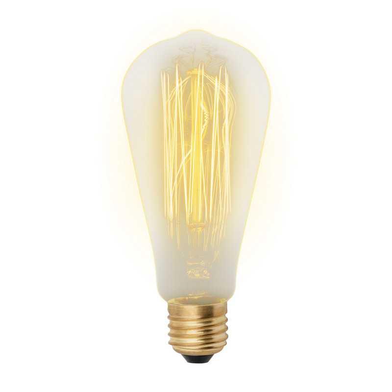 IL-V-ST64-60/GOLDEN/E27 VW02 Лампа накаливания Vintage. Форма «конус». Форма нити VW. Картон. ТМ Uni