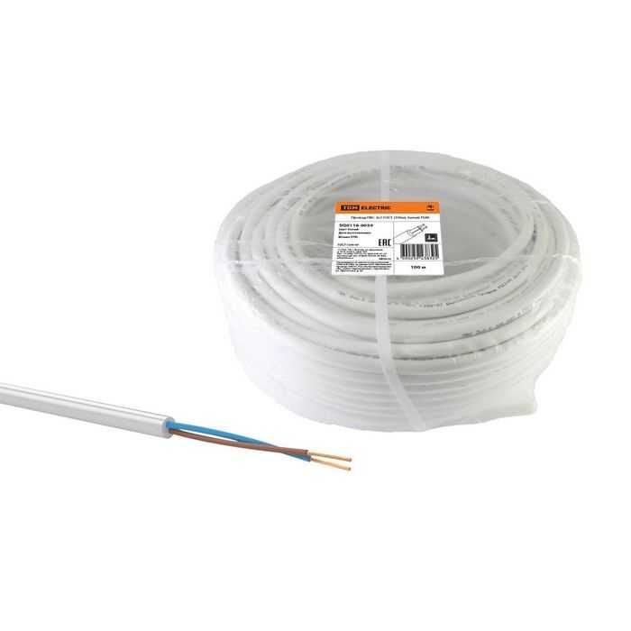 Провод ПВС 2х1 ГОСТ (100м), белый TDM