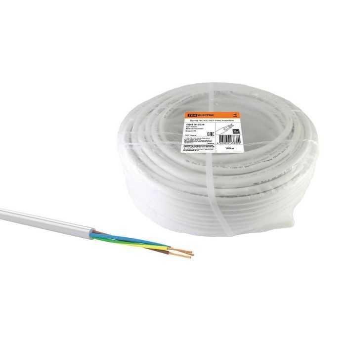 Провод ПВС 3х1,5 ГОСТ (100м), белый TDM