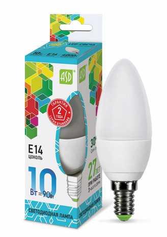 Лампа светодиодная LED СВЕЧА standard 10Вт 230В Е14 4000К 900Лм ASD