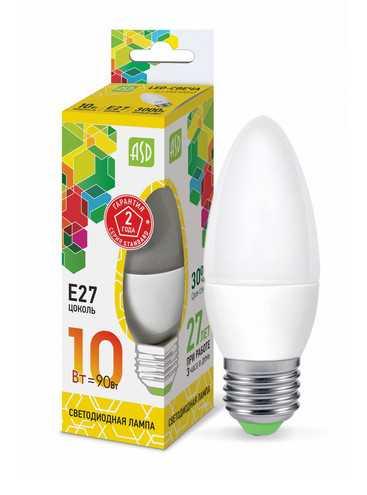 Лампа светодиодная LED СВЕЧА standard 10Вт 230В Е27 3000К 900Лм ASD
