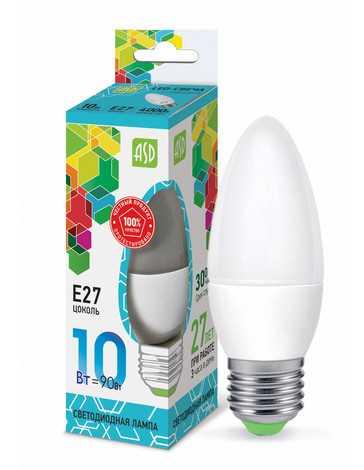 Лампа светодиодная LED СВЕЧА standard 10Вт 230В Е27 4000К 900Лм ASD