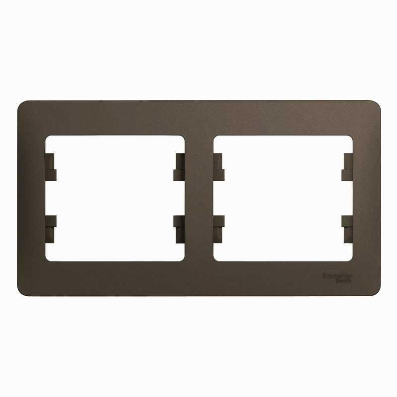GSL000802 Рамка 2-пост.гориз. шоколад Glossa Schneider Electric электропродукция оптом, и розницу купить в Крыму, Симферополе, Севастополе магазин КСК, электрика в крыму
