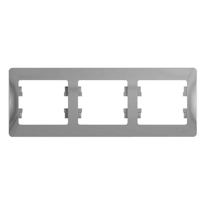 GSL000303 Рамка 3-постовая горизонтальная алюминий Glossa Schneider Electric электропродукция оптом, и розницу купить в Крыму, Симферополе, Севастополе магазин КСК, электрика в крыму