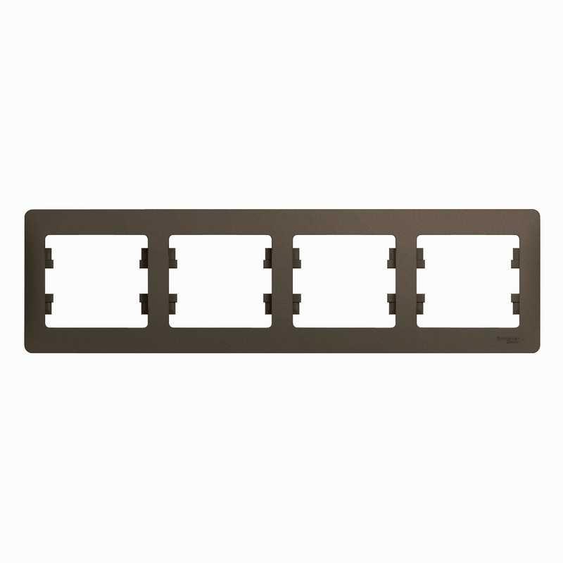 GSL000804 Рамка 4-пост.гориз. шоколад Glossa Schneider Electric электропродукция оптом, и розницу купить в Крыму, Симферополе, Севастополе магазин КСК, электрика в крыму