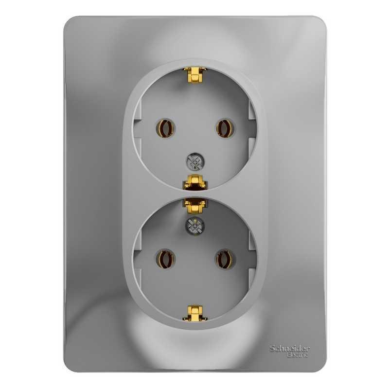 GSL000324 Розетка двойная  з/к алюминий Glossa Schneider Electric электропродукция оптом, и розницу купить в Крыму, Симферополе, Севастополе магазин КСК, электрика в крыму