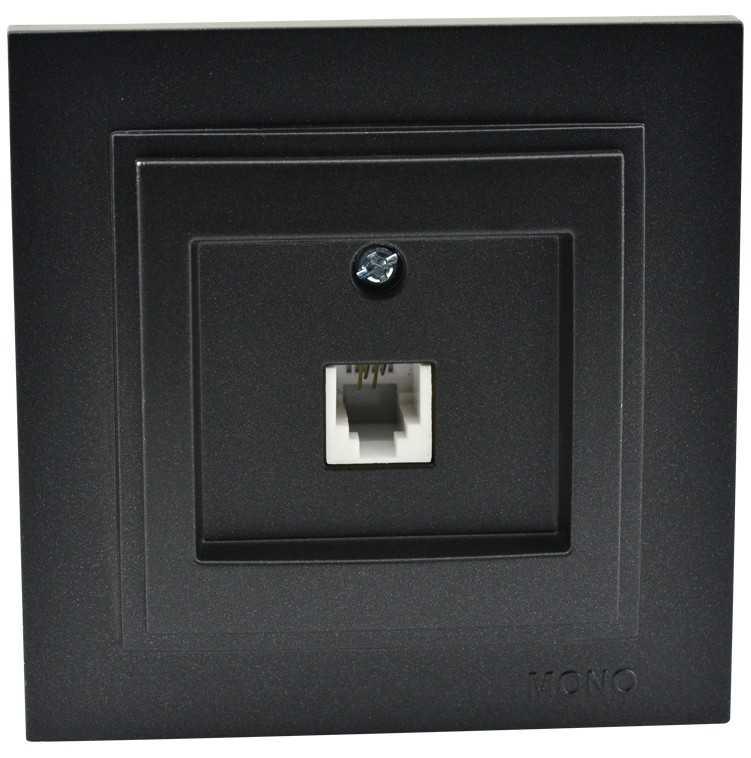 РОЗЕТКА ТЕЛЕФОННАЯ ЦИФРОВАЯ (623K CAT3) ГРАФИТ (Черный)  DESPINA MONO electric