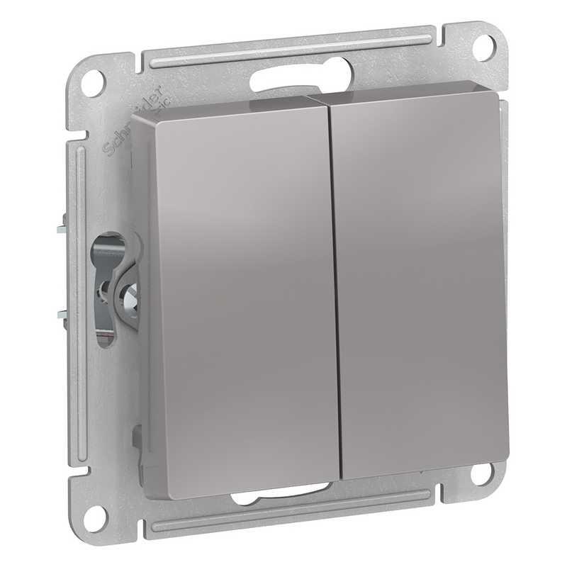 ATN000351 Выключатель 2-клавишный ,сх.5,10АХ,механизм алюминий AtlasDesign электропродукция оптом, и розницу купить в Крыму, Симферополе, Севастополе магазин КСК, электрика в крыму