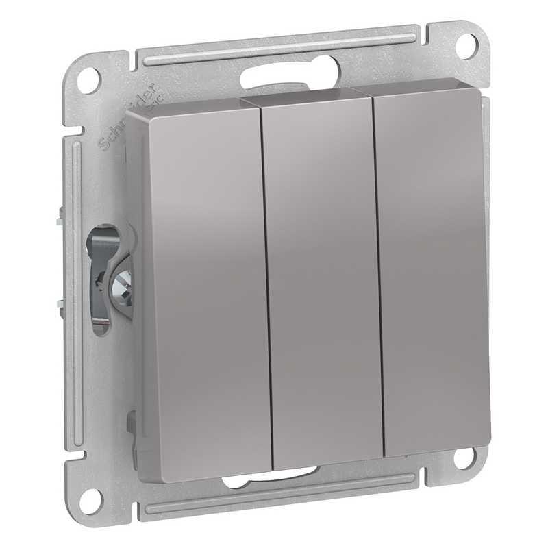 ATN000331 Выключатель 3-клавишный сх.1+1+1, 10АХ, механизм алюминий AtlasDesign электропродукция оптом, и розницу купить в Крыму, Симферополе, Севастополе магазин КСК, электрика в крыму