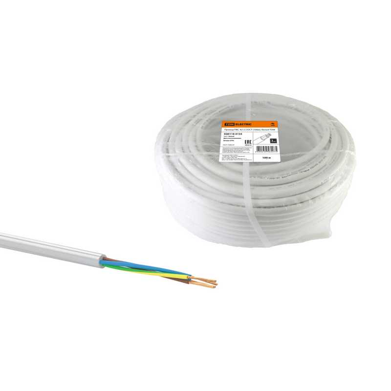 Провод ПВС 4х1,5 ГОСТ (100м), белый TDM