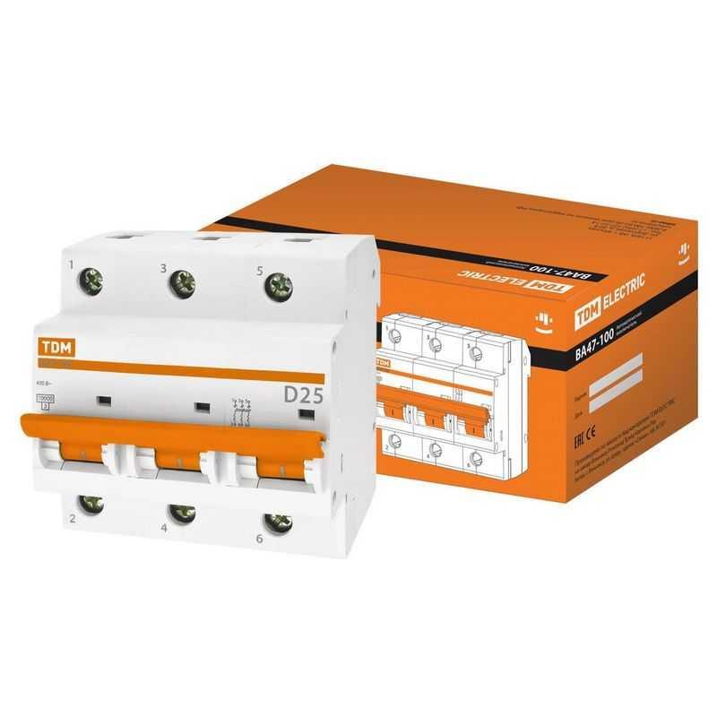 Автоматический выключатель ВА47-100 3Р 25А 10кА х-ка D TDM