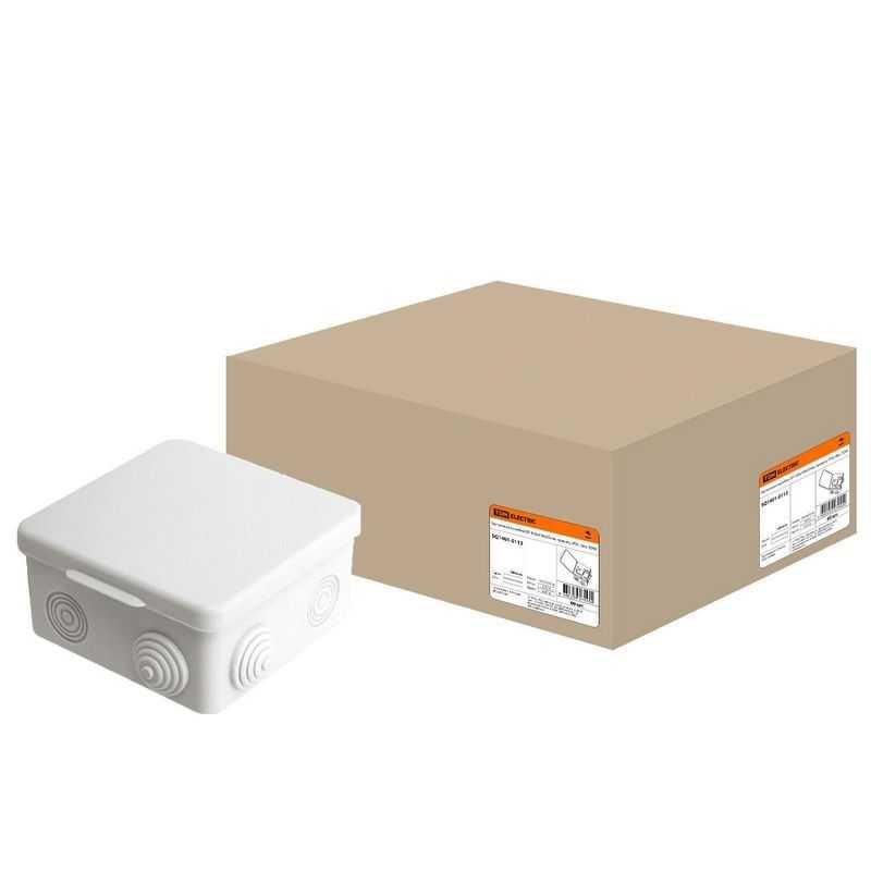 Распаячная коробка с крышкой 100х100х55мм IP54, 8вх. TDM
