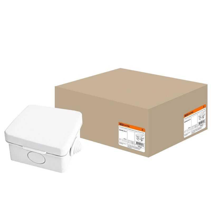 Распаячная коробка с крышкой 65х65х50мм IP54, 4вх. TDM