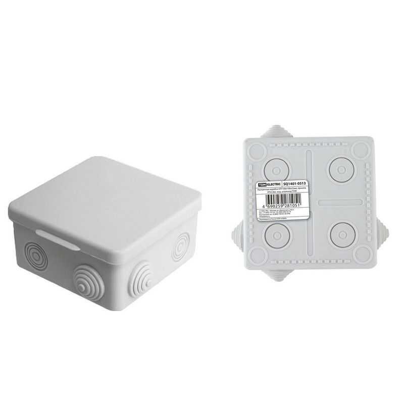 Распаячная коробка ОП 100х100х55мм, крышка, IP54, 8вх. инд. штрихкод TDM