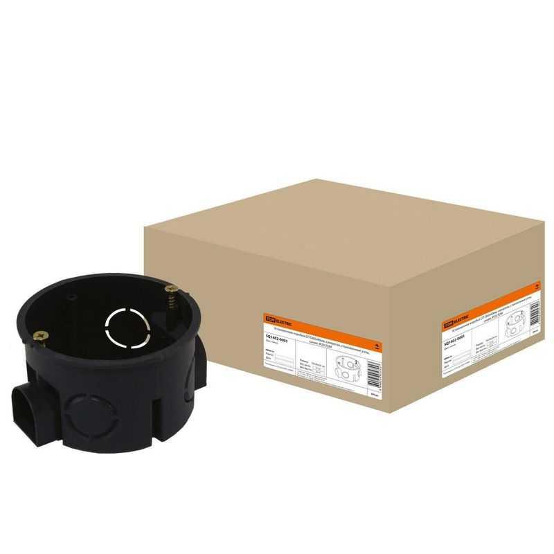 Установочная коробка мод. D60х40мм IP20, саморез, с ушами, синий TDM (в упаковке 200 шт.)