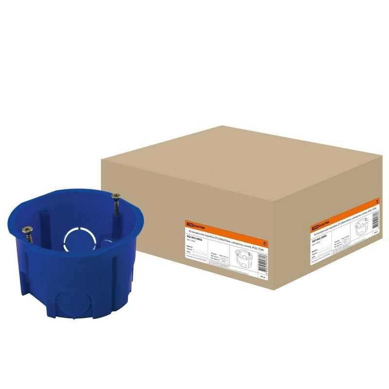 Установочная коробка мод. D68х45мм IP20, саморез., синий TDM