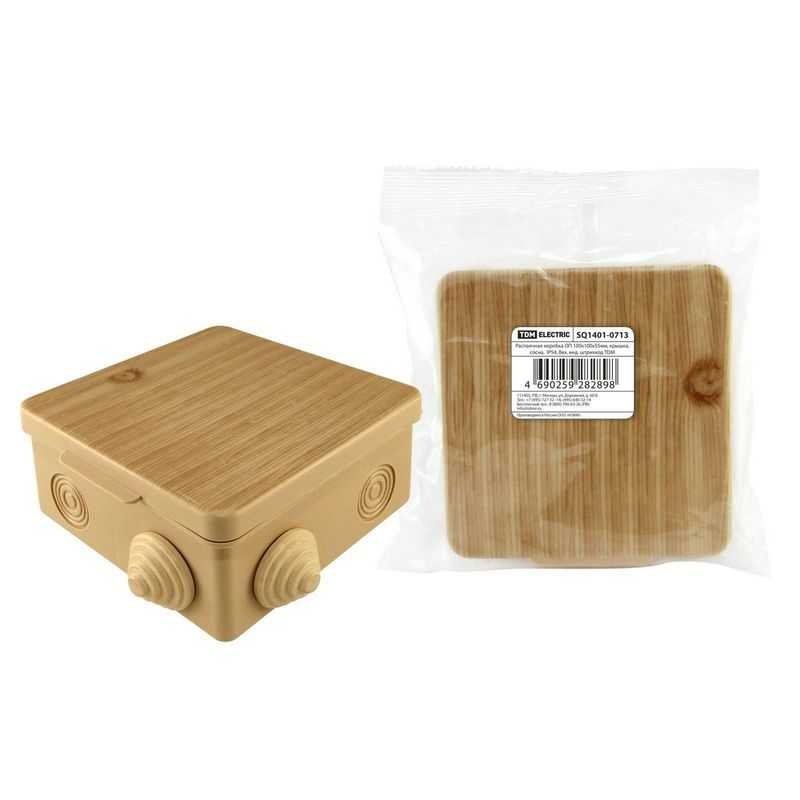 Распаячная коробка ОП 100х100х55мм, крышка, сосна,  IP54, 8вх. инд. штрихкод TDM