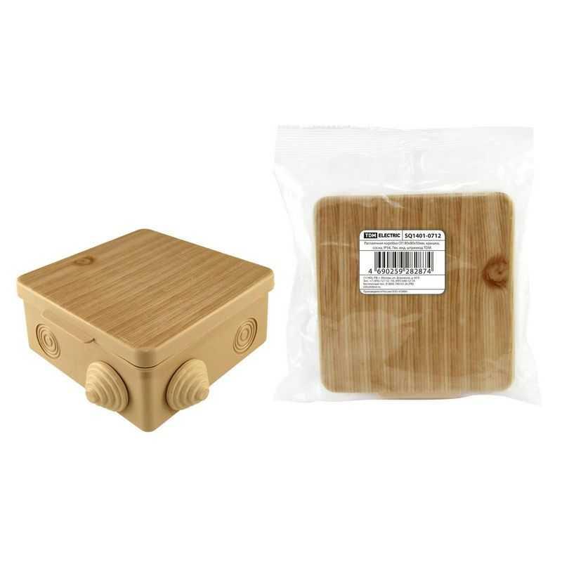 Распаячная коробка ОП 80х80х50мм, крышка, сосна, IP54, 7вх. инд. штрихкод TDM